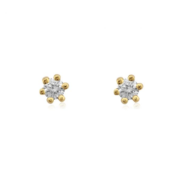 Diamant Ohrstecker 585er Gelbgold Solitaire 0,20ct. I/SI1