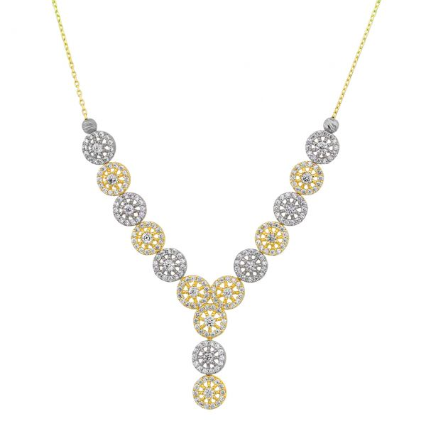 Y-Goldcollier Halskette Fantasieform 585er Gold Bicolor CL16019