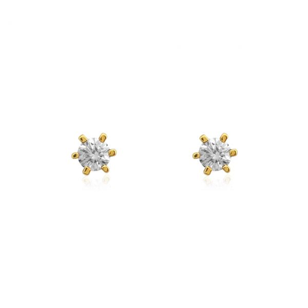 Diamant Ohrstecker 585er Gelbgold Solitaire 0,15ct. W/SI1