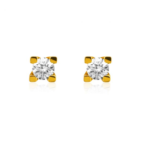 Diamant Ohrstecker 585er Gelbgold Solitaire 0,40ct. W/SI1