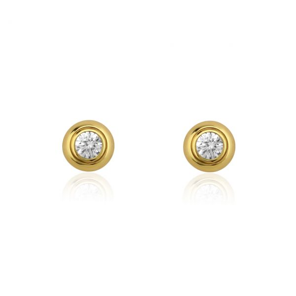 Diamant Ohrstecker 585er Gelbgold Solitaire 0,10ct. W/SI1