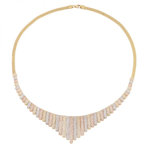 Exclusives Goldcollier Halskette 585er Gold, dreifarbig 43cm