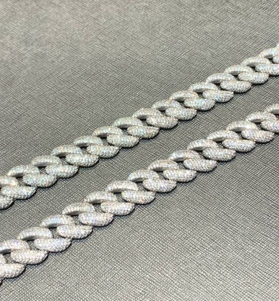 Cuban Link Chain Iced 11mm 925 Sterling Silber KTS0043