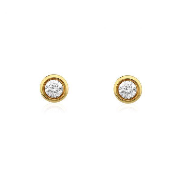 Diamant Ohrstecker 585er Gelbgold Solitaire 0,25ct. W/SI1